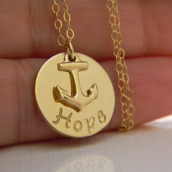 14kt Gold Filled Custom Made Hand Stamped Personalized Monogram Initial, Name Necklace with Small Charm (5/8 inch )