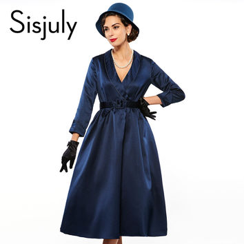 Sisjuly vintage dress mid cafl elegant women  party dresses retro 1950s rockabilly dress vestido style  luxury vintage dresses