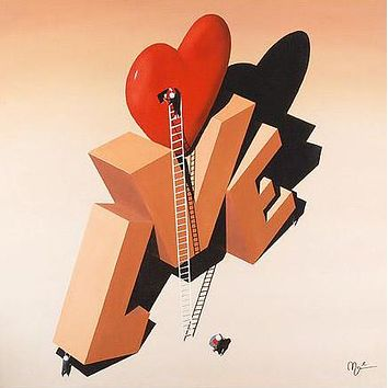 Building Love - Limited Edition Giclee on Canvas Mounted on Board by Mark Grieves