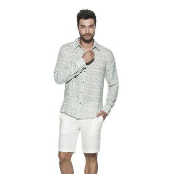 OndadeMar MEN BICOLLAGE BEACHWEAR IVORY LONG SLEEVED SHIRT
