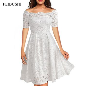 FEIBUSHI 2017 Summer Embroidery Sexy Women Lace Off Shoulder Dresses Short Sleeve Casual Evening Party A Line Formal Dress