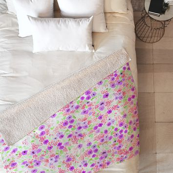 Joy Laforme Sun Faded Floral In Lavender Fleece Throw Blanket