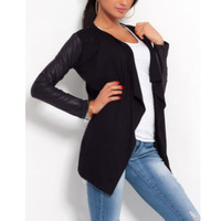 Hot Women PU Leather Sleeve Irregular Sweater Cardigan Casual Knit Coat Outwear