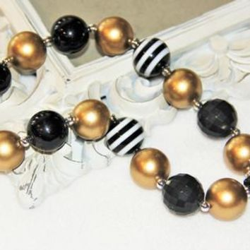 Gold and Black Chunky Necklace