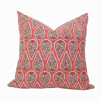 Red paisley throw pillow cover 18x18 20x20 22x22 24x24 26x26 Euro sham red Lumbar pillow 12x20 12x24 13x24 14x26 16x24 16x26 Western pillow
