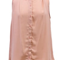 Blush Sleeveless Chiffon Button Down Blouse