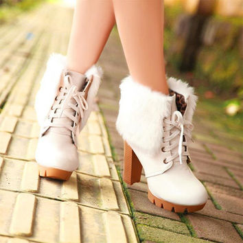 Women ankle boots high heels shoes fashion sexy warm short boots pump winter Thick plush fur boots lace up platform martin boots