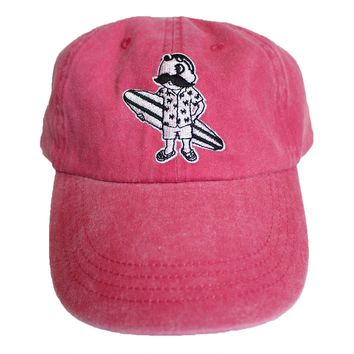 Natty Boh Surfer Dude in White (Raspberry) / Baseball Hat
