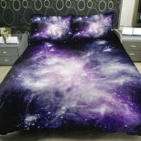 Anlye Galaxy Quilt Cover Sets(Satin Fabric) Contain 1 Galaxy Queen Duvet Cover(No Comfoter) 1 Queen Galaxy Top Sheets(Not Fitted Sheet) 2 Galaxy Pillow Cover