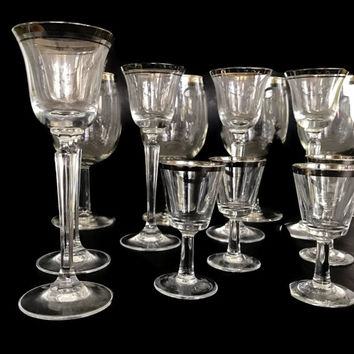 Set of Vintage Glass Stemware Clear with Silver Rims Wine Glasses Cordial Aperitif Set of 16 Liqueur Glasses Vintage Barware