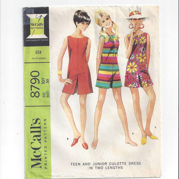 """McCall""""s 8790 Pattern for Teen Culotte Dress in 2 Lengths, Size Teen 10, Sleeveless, from 1966, Vintage Pattern, Summer Outfit, Vintage Sew"""