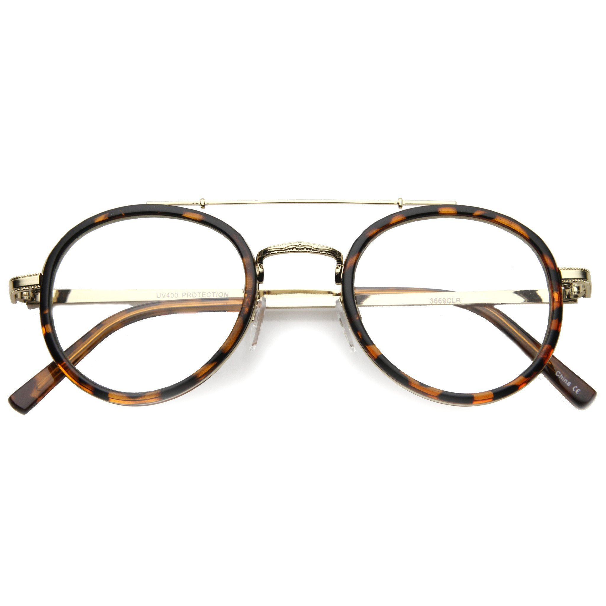 65095b39dd Retro Hipster Indie Dapper Round Clear Lens Aviator Glasses 9922