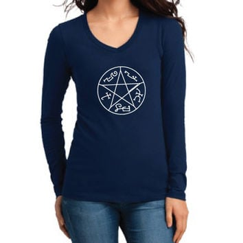 Supernatural Inspired Clothing - Devil's Trap Symbol Long Sleeve V-Neck - Ladies