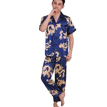 Traditional Chinese Print Dragon Nightwear Home Wear Casual Rayon 2PCS Men's Short Sleeve Shirt&Pant Pyjamas Set Size L XL XXL