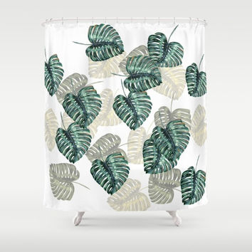 "Shower Curtain - 'Philodendron Leaves' - 71"" by 74"" Home, Decor, Bathroom, Bath, Dorm, Girl, Decor, Hippie, Boho, Bohemian"