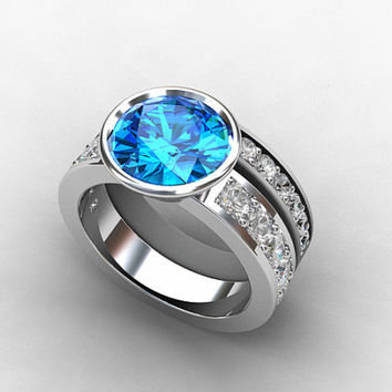 Engagement ring set, Swiss blue topaz ring, White sapphire, wedding band, engagement, blue topaz, sapphire, unique, wedding set, eternity