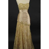 Elegant Evening Dresses-Strapless Gold Sweetheart Rhinestone Lace and Pleated Satin Formal Gown