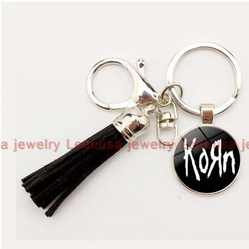 2017 Korn Metal Rock band Logo charm key chain tassel key ring for women and men diy jewelry 8 colors