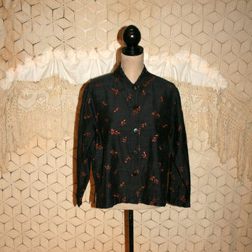 Raw Silk Blouse Boxy Shirt Black Rust Embroidered Fall Hippie Top Long Sleeve Button Up Chicos Vintage Clothing Large Womens Clothing