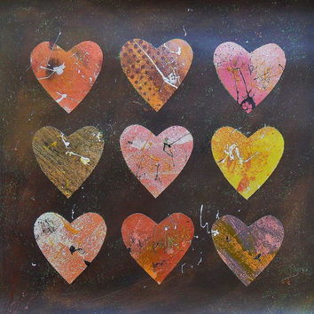 Abstract Heart Painting Original Modern Art Love Hearts Earthy Rich Jewel Colors Brown Pink Yellow Paint Splashes Collage Romantic Minimal