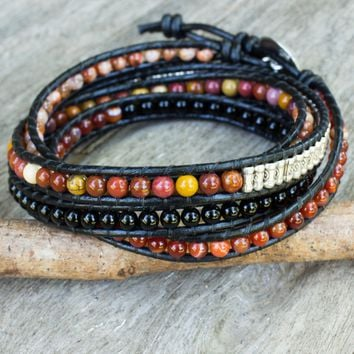 Multi-gemstone wrap bracelet, 'Jupiter Rising'