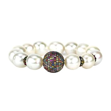 5.60tcw Rainbow Sapphires in South Sea Pearls Stretch Bracelet 6.5""