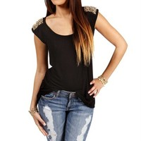 Black Spike Studded Short Sleeve