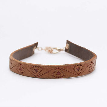 Tooled Brown Leather Choker Necklace - Urban Outfitters