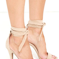 Sweet Soliloquy Natural Suede Lace-Up Platform Heels
