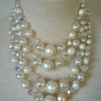 Stunning Vintage High End Designer Laguna Four Strand Faux Pearl and AB Crystal Necklace - Wedding Prom Eastet Special Occasion