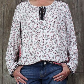 Pretty J Jill XL Blouse XL size White Pink Black Floral Top Womens Career Casual