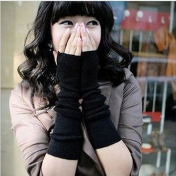 1 pair fashion female models Korean girls long gloves knitted cotton fingerless gloves arm sleeve Wristbands Arm Warmers
