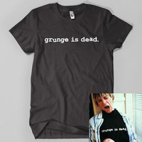 grunge is dead Letters Print Women T shirt Cotton Casual Funny Shirt For Lady Black Top Tee Hipster Z-198