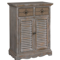 Shutter Front Natural/Blue Two Door Cabinet
