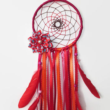 Red Dream Catcher. FREE SHIPPING. Baby Mobile.Bohemian Decor. Hanging Decoration. Ribbon Mobile.Bedroom Wall Decor.