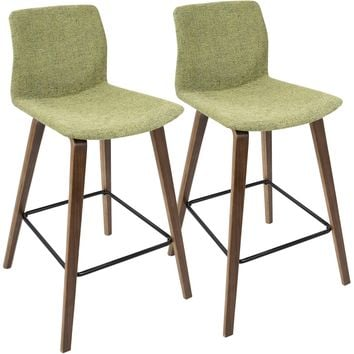 Cabo Mid-Century Counter Stools with Green Fabric, Walnut (Set of 2)