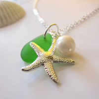 Sea Glass Starfish Necklace in Kelly Green with fresh water pearl - Perfect Necklace for Mermaid bridesmaids FREE SHIPPING