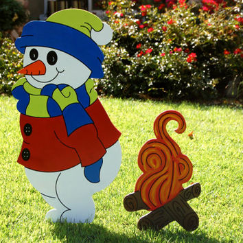 Snowman and Fire Outdoor Wood Decoration