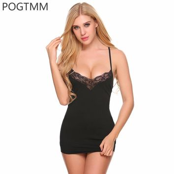 Summer Sexy Floral Lace Nightgown Sleepwear Women Modal Nightwear Short Mini Nightdress Babydoll Lingerie Nighty Chemise Red XXL
