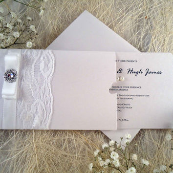 White Wedding Invitation White Lace Wedding Invitation Tag detachable Wedding Invitation in white brilliant cardstock.