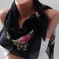 ON SALE/Flowered Black and Pink Shawl - Cotton Scarf - Headband - Necklace Shawl