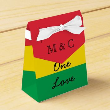 Rasta Colors Green Yellow Red Stripes Flag Pattern Favor Box