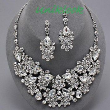 Elegant Clear Crystal Statement Bib Silver Necklace Set Chunky Costume Jewelry