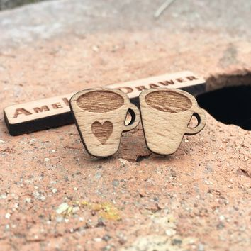 Laser Engraved Coffee Lovers Earrings Coffee Cups Stud Coffee Heart Wooden Earring X 1 Pair