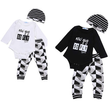 3pcs Baby Boy Girl Kids Newborn Infant Bodysuit Pant Hat Outfits Striped Baby Clothing Set Geometry Baby Boys Clothes 0-18M