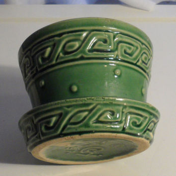 Vintage McCoy and Nelson Pottery Co Small Plant Pot, Greek Key N Hob Nail Pattern, Plant Pot 2 Grow Violets, Green Plant Pot,Attached Saucer