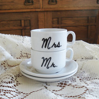 Mr and Mrs Espresso Cup set hand painted - great couples gift / newlywed gift