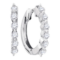 Round Diamond Ladies Fashion Earrings in 14k White Gold 0.25 ctw