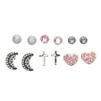 With Love From CA 6 Pack Moon Cross Heart Earring Set at PacSun.com
