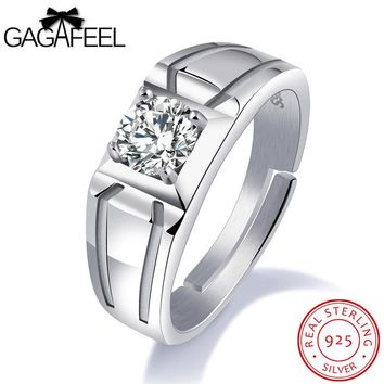 GAGAFEEL Domineering 925 Sterling Silver Jewelry For Men Wedding Engagement Size Finger Zircon Wide Version Ring For Male